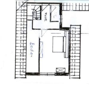 Grundriss der oberen Etage, Schlafzimmer der Ferienwohnung, des Ferienhauses