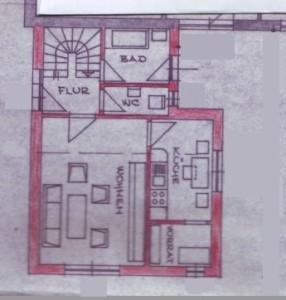 Der Grundriss des unteren Wohnbereichs der Ferienwohnung